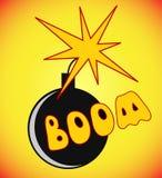 Comic-Buch-Karikaturbombe mit Feuerausdruck und Boom simsen Vect stock abbildung
