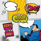 Comic-Buch-Seite geteilt durch Linien mit Spracheblasen, Superhelden und Toneffekt Retro- Hintergrundmodell comics lizenzfreies stockfoto