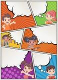 Comic-Buch-Seite mit der Kinderunterhaltung Lizenzfreie Stockfotos