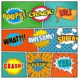 Comic-Buch-Seitenschablone mit Ausdrücken Lizenzfreie Stockfotografie