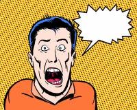 Comic-Buch veranschaulichte den verrückten Charakter, der mit orange Hintergrund schreit Lizenzfreie Stockfotografie