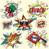 Comic-Buchexplosionen und -ikonen Stockbilder