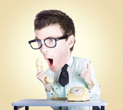 Comic businessman with oversized head Royalty Free Stock Photos