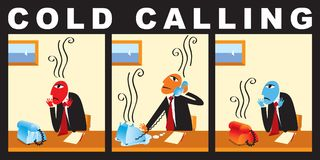 Comic with a businessman who makes cold call. Vector comic with a businessman who makes cold call. Business strategy. A cold calling to the client Stock Photo