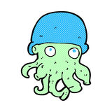 comic cartoon alien head wearing hat Royalty Free Stock Images