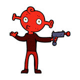 Comic cartoon alien with ray gun Royalty Free Stock Photography