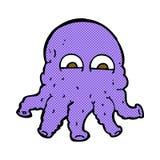 Comic cartoon alien squid face Stock Images