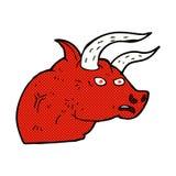 Comic cartoon angry bull head. Retro comic book style cartoon angry bull head Stock Images