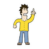 Comic cartoon angry man making point Stock Images