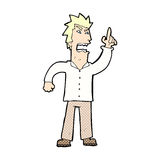 Comic cartoon angry man making point Royalty Free Stock Photography