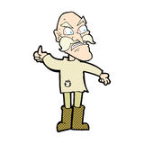 Comic cartoon angry old man in patched clothing Royalty Free Stock Photos