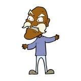 Comic cartoon angry old man Stock Photos