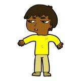 Comic cartoon annoyed boy Stock Image