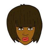 comic cartoon annoyed girl with big hair Royalty Free Stock Photo