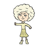 Comic cartoon annoyed old woman. Retro comic book style cartoon annoyed old woman Stock Photography