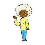 Comic cartoon annoyed old woman waving Stock Photography