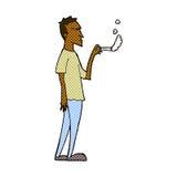 Comic cartoon annoyed smoker Stock Images