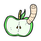 Comic cartoon apple with worm Royalty Free Stock Images