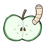 Comic cartoon apple with worm Royalty Free Stock Photos