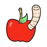 Comic cartoon apple with worm Stock Photography
