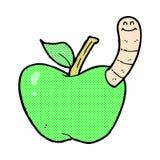 Comic cartoon apple with worm Royalty Free Stock Image