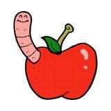 Comic cartoon apple with worm Stock Image