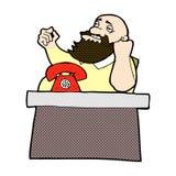 Comic cartoon arrogant boss man Royalty Free Stock Image