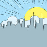 Comic cartoon background with cityscape, clouds and Sun Royalty Free Stock Photos