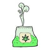 Comic cartoon bag of weed Stock Photos