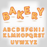 Comic cartoon bakery style alphabet Stock Photography