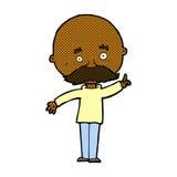 Comic cartoon bald man with idea Royalty Free Stock Photos