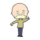 Comic cartoon bald man with idea Stock Images