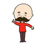 Comic cartoon bald man with idea Royalty Free Stock Images