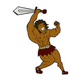 comic cartoon barbarian hero Stock Image