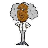 comic cartoon big hair lecturer man Stock Photo