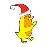 Comic cartoon bird wearing xmas hat Stock Images