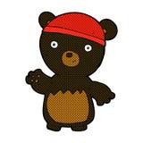 Comic cartoon black bear wearing hat Royalty Free Stock Images