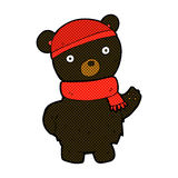 Comic cartoon black bear in winter hat and scarf Stock Photography