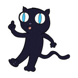 Comic cartoon black  cat with idea Stock Image