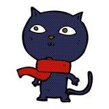 Comic cartoon black cat wearing scarf Stock Photos