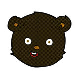Comic cartoon black teddy bear head Royalty Free Stock Photos