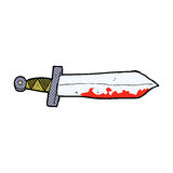 Comic cartoon bloody sword Stock Images
