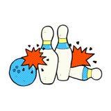 Comic cartoon bowling ball and skittles. Retro comic book style cartoon bowling ball and skittles Stock Photos