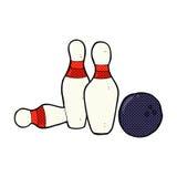 Comic cartoon bowling ball and skittles. Retro comic book style cartoon bowling ball and skittles Royalty Free Stock Photos