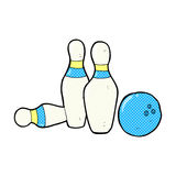 Comic cartoon bowling ball and skittles. Retro comic book style cartoon bowling ball and skittles Stock Image
