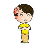 Comic cartoon boy with growth on head Royalty Free Stock Images
