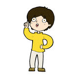 Comic cartoon boy with idea. Retro comic book style cartoon boy with idea Stock Photos