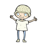 Comic cartoon boy with positive attitude Royalty Free Stock Images