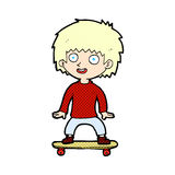comic cartoon boy on skateboard Stock Photography