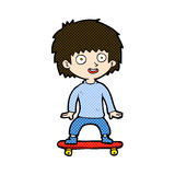 comic cartoon boy on skateboard Royalty Free Stock Photos